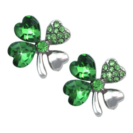 4 Leaf Clover Post Earrings - cocojewelry Heart Shape Leaf Clover Shamrock Stud Post Earrings