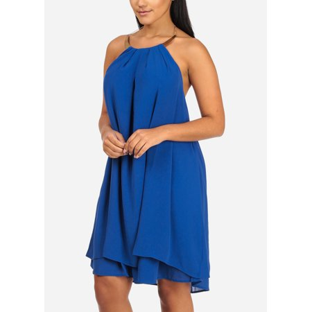 Womens Juniors Ladies Cocktail Evening Sexy Halter Gold Necklace Open Back Royal Blue Chiffon Loose Midi Dress 40837R Draped Open Back Cocktail