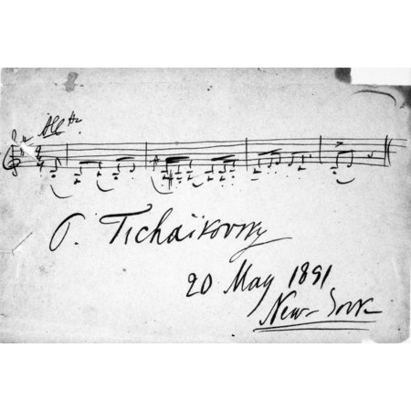 Peter Ilich Tchaikovsky N(1840-1893) Russian Composer Autograph Signature And Musical Quotation From The ComposerS Suite No 3 For Orchestra From May 1891 While Tchaikovsky Was At New York City For The