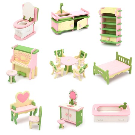 Wood Family Doll Dollhouse Furniture Set,Dolls House Miniature Decoration Accessories Room Furniture Set Kids Pretend Play Toys Gift for Children Kids Boys Girls