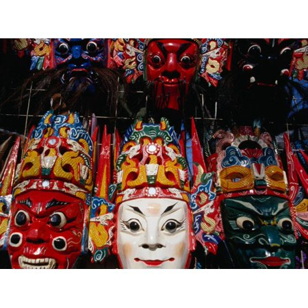 Souvenir Masks for Sale at Yonghe Gong (Lama Temple), Beijing, China Print Wall Art By Damien