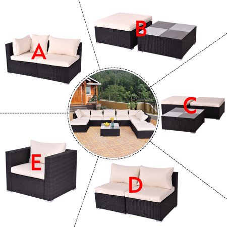 Costway Black Outdoor Patio Rattan Furniture Set Infinitely Combination Cushion Rattan Wicker ()