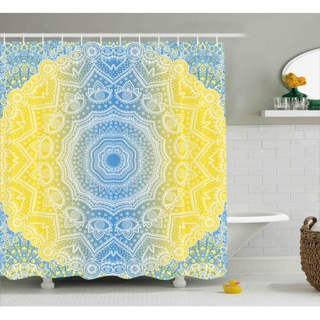 Blue And Yellow Shower Curtain Ombre Mandala Design Tribal Chinese Esoteric Pattern Mystic Universe Print