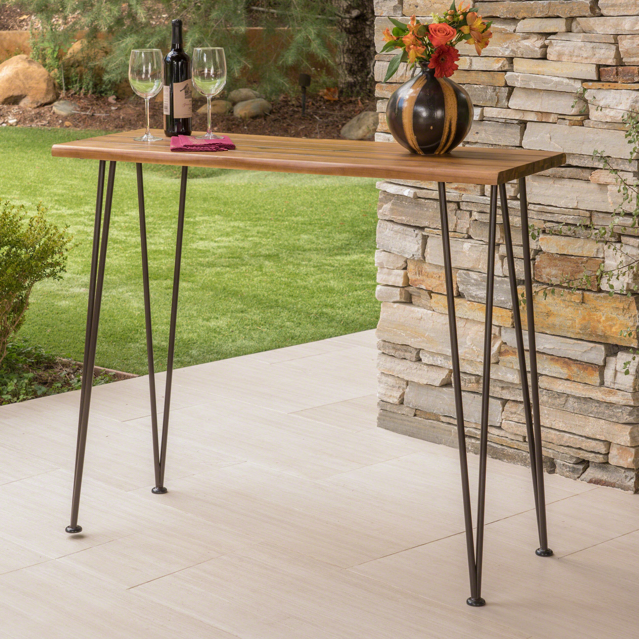 Jacob Outdoor Industrial Acacia Wood Pub Table, Teak Finish by Noble House