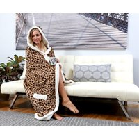 """Chic Home Agot BRAND NEW Ultra plush sherpa lined Snuggle up animal print hoodie wearable blanket 51""""x71"""" Robe Brown"""