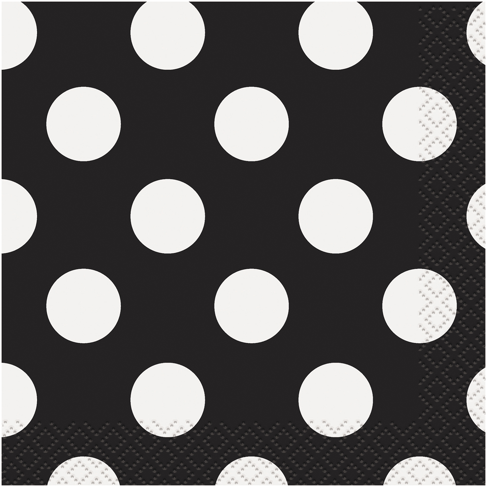 Black Polka Dot Beverage Napkins, 40pk