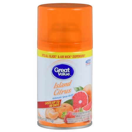 (2 pack) Great Value Automatic Air Spray Refill, Island Citrus, 6.17 oz