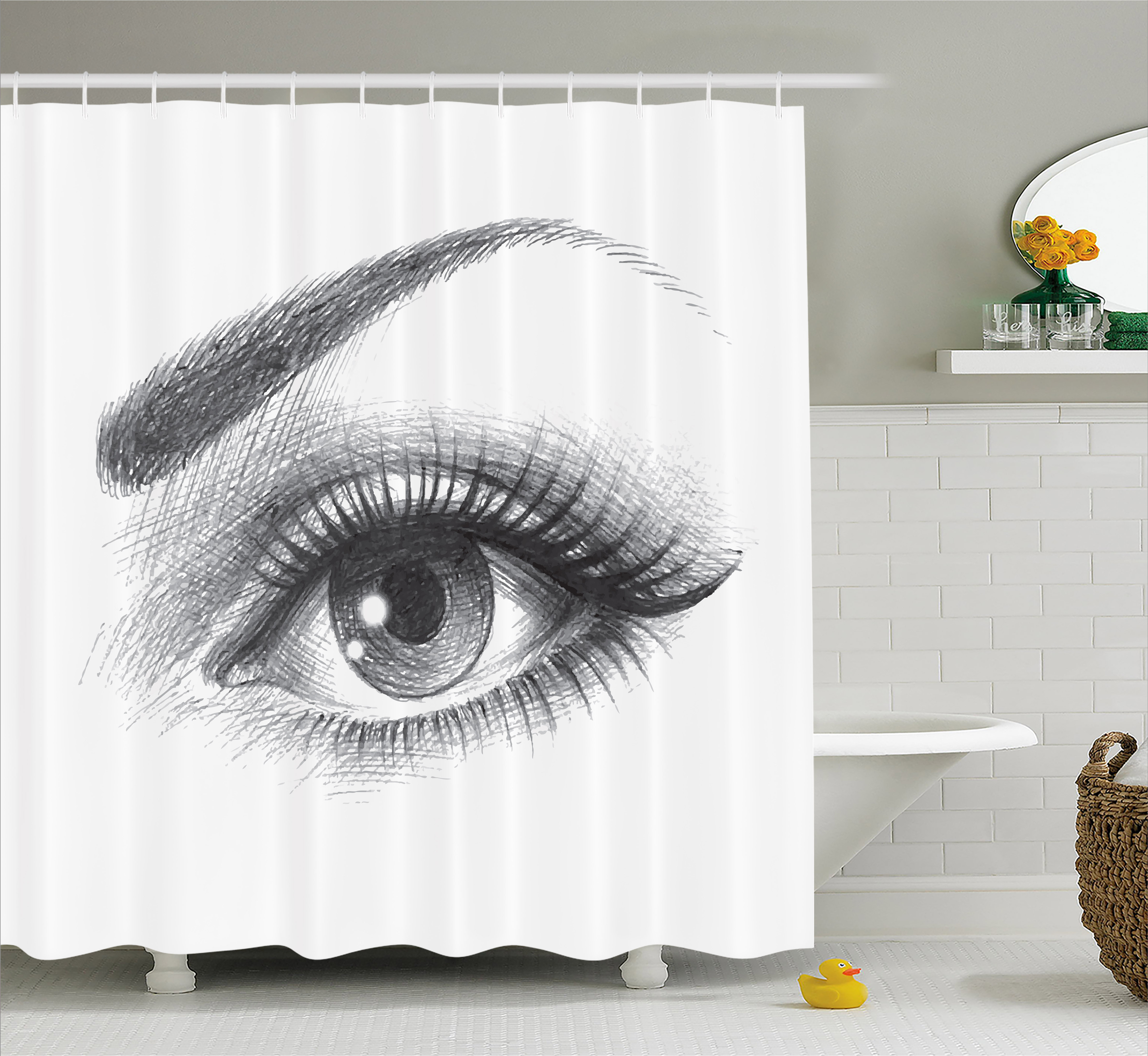 Eye Shower Curtain, Pencil Drawing Artwork of a Staring Female Eye with Long Lashes and a Curvy Eyebrow, Fabric Bathroom Set with Hooks, Grey White, by Ambesonne