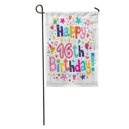 LADDKE Sweet Happy 16Th Birthday Sixteen Congratulation Inscription Party 50S 60S Garden Flag Decorative Flag House Banner 12x18 inch](50s Themed Sweet 16)