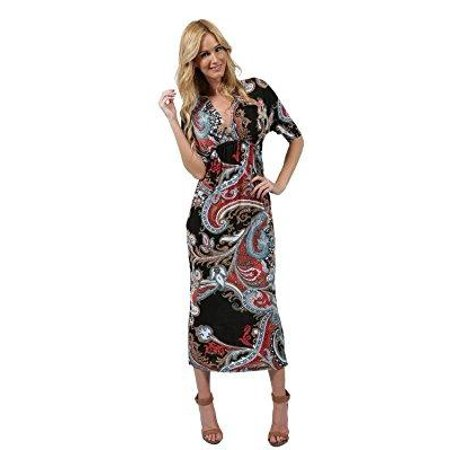 - ingear 3/4 sleeve neck overlap front maxi dress black multi-small