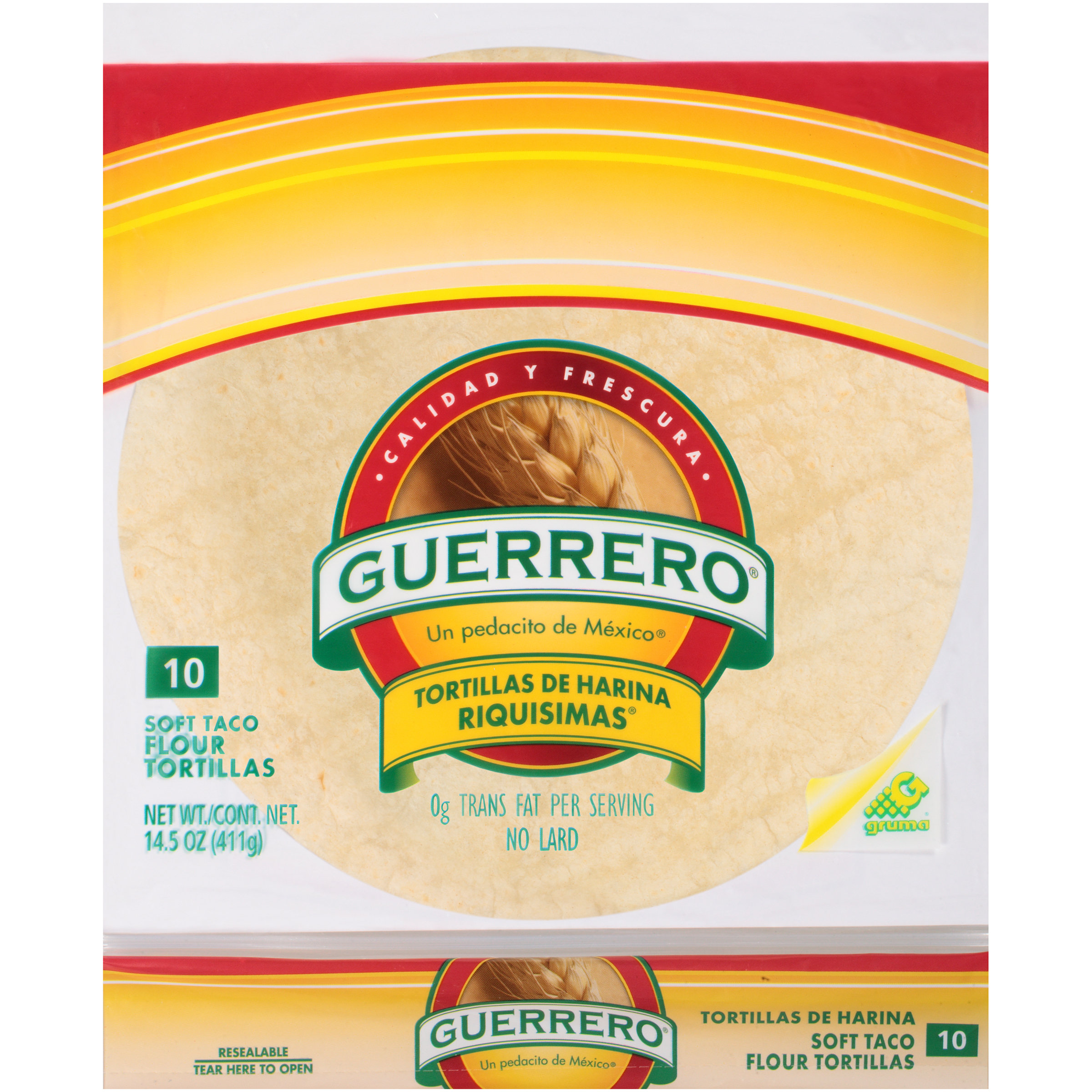 Guerrero Flour Soft Taco 10 Ct Tortillas 14.5 Oz Bag