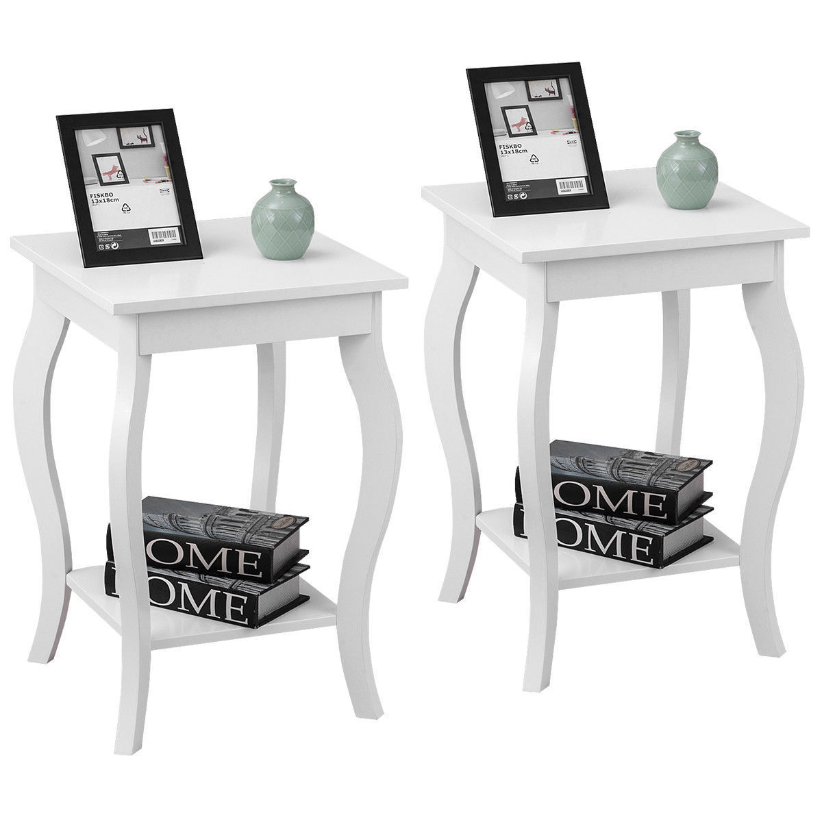 Gymax Set of 2 Accent Side Table Sofa End Table Nigh stand Coffee Table w/ Shelf White