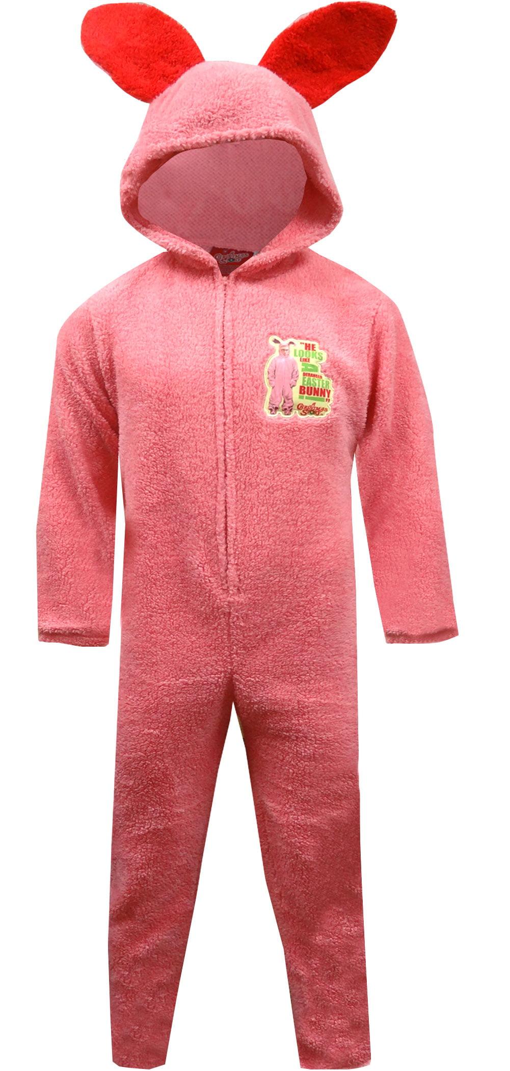 Christmas Story Unisex Pink Bunny Hooded Onesie Pajama - Walmart.com
