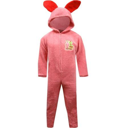 onesie christmas story unisex pink bunny hooded onesie pajama walmartcom