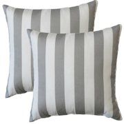 FHT Premiere Home Gray Stripes 17-inch Throw Pillow - Set of 2