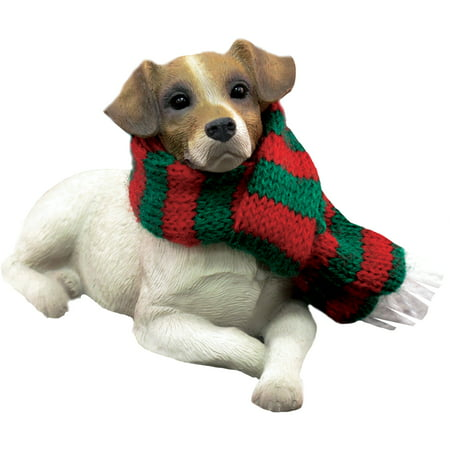 Sandicast Lying Brown Jack Russell Terrier with Scarf Christmas Dog Ornament