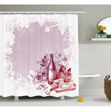 Wine Shower Curtain Grunge Abstract Frame Bunch Of Grapes Leaves Country Drinks Food Picnic Concept Fabric Bathroom Set With Hooks Lilac And White