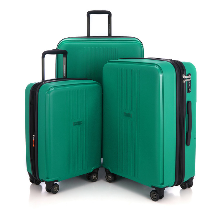 "Hauptstadtkoffer Fhain Set of 3 Luggage Lightweight Suitcase Hardside Spinner Expandable (20"", 24""& 28"") TSA, Green"