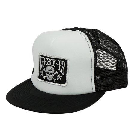 Lucky 13 Skull Stars Snap Back Trucker Hat White