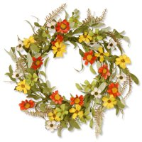 "National Tree Artificial 20"" Garden Accents Sunflower Wreath"