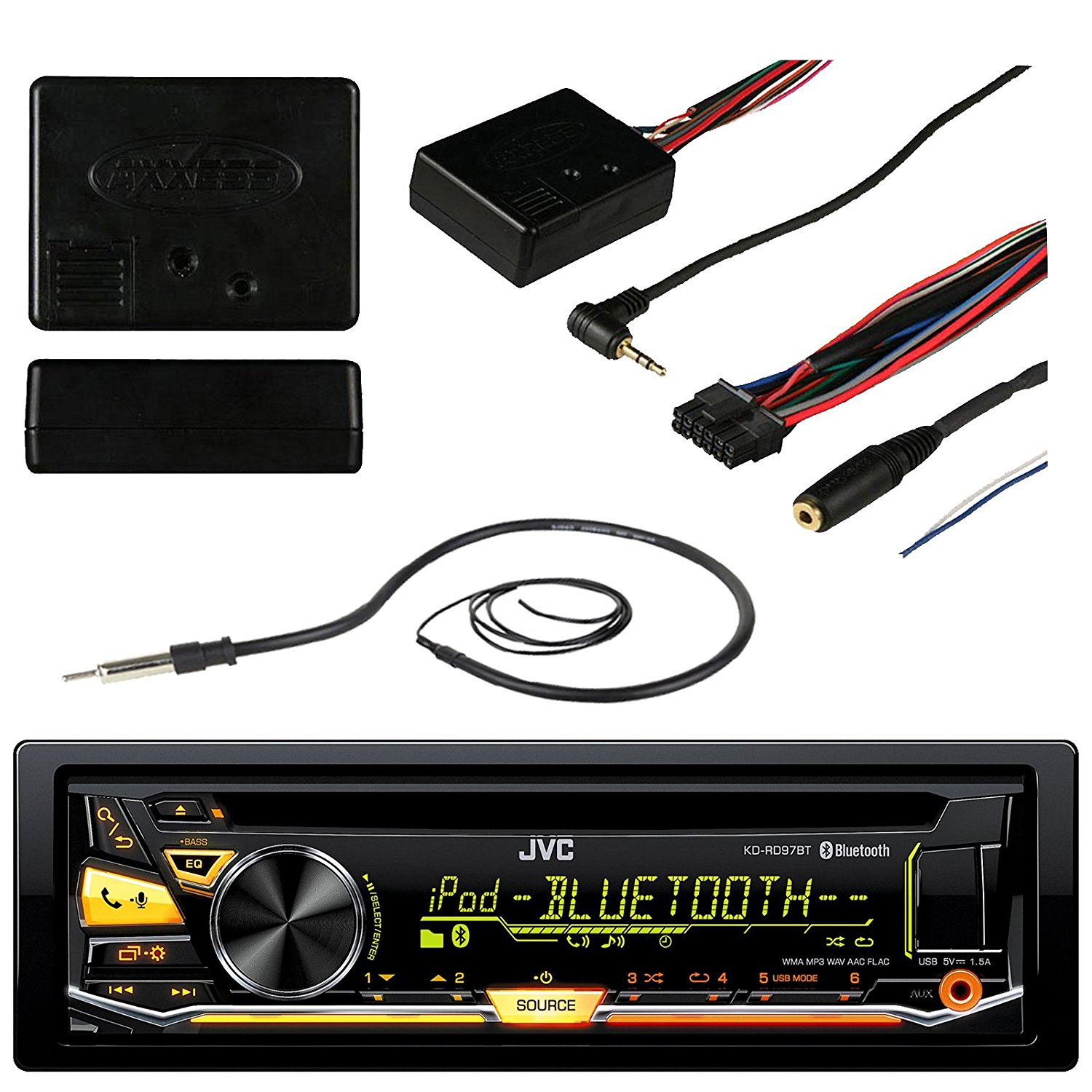 "JVC KD-RD97BT Bluetooth Car CD USB Stereo Receiver Bundle Combo With Metra ASWC-1 Universal Steering Wheel Controller Module, Enrock 22"" AM/FM Radio Antenna"
