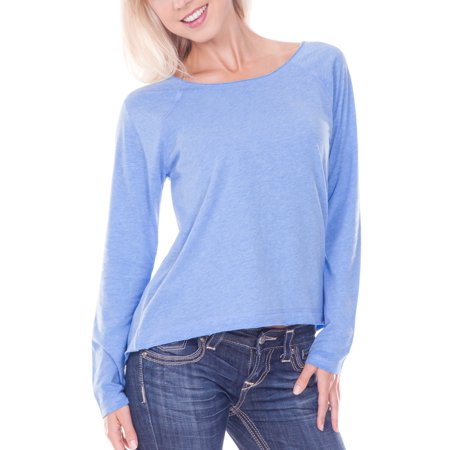 Women Sheer Jersey Raw Edge Scoop Neck High Low Raglan Long Sleeve, Style (Cobalt Blue Flash)