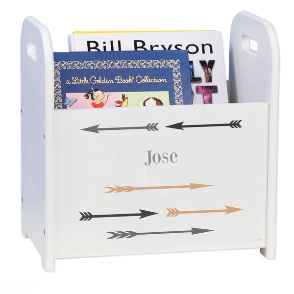 Personalized Arrows Gold and Grey White Book Caddy and Rack