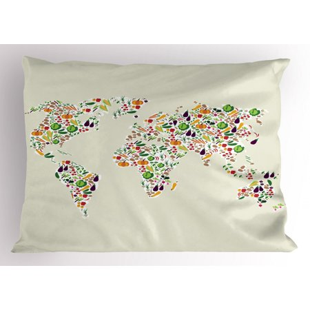 Vegan Pillow Sham, Map of the World Designed with Multiple Vegetables Vegetarian and Healthy Planet, Decorative Standard Size Printed Pillowcase, 26 X 20 Inches, Multicolor, by Ambesonne
