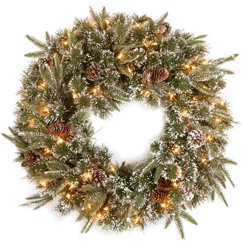 National Tree 24 Feel Real Liberty Pine Wreath with Snow and Pine Cones and 50 Clear Lights