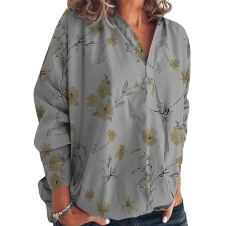 Women Cross V Neck Floral Print Long Sleeve Blouse