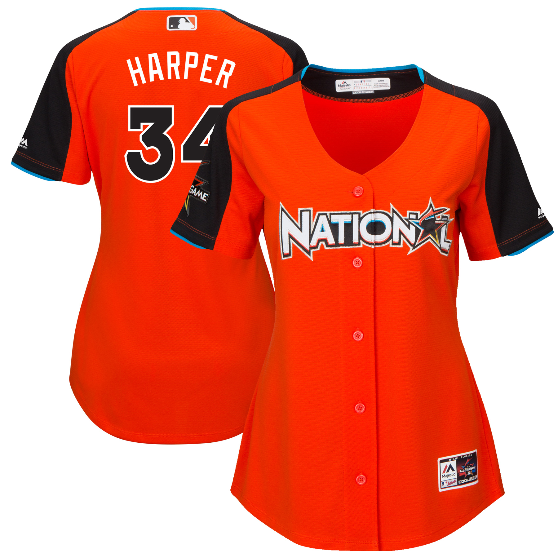 Women's Majestic Bryce Harper Orange National League 2017 MLB All-Star Game Home Run Derby Jersey
