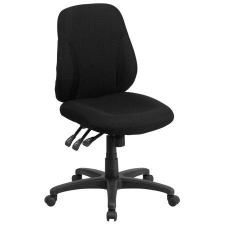 Flash Furniture Mid-Back Black Fabric Multi-Functional Ergonomic Swivel Task Chair