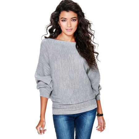 Women Casual Batwing Sleeve Sweater Knitwear Pullover Tee Shirts Jumper Tops