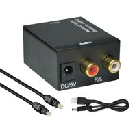 Cooligg Signal Optical Coaxial Digital to Analog Audio Converter Adapter RCA L/R 3.5mm with Fiber Cable