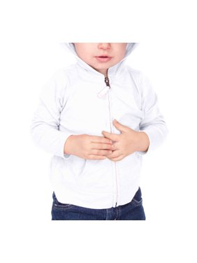 Kavio IJP0596 Infants Jersey Long Sleeve Zip Up Hoodie-White-18M