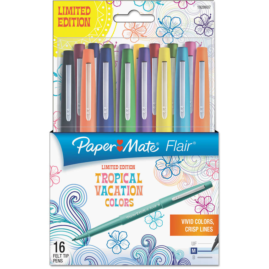 Paper Mate Flair Felt Tip Marker Pen, Assorted Tropical Ink, Medium, 16pk
