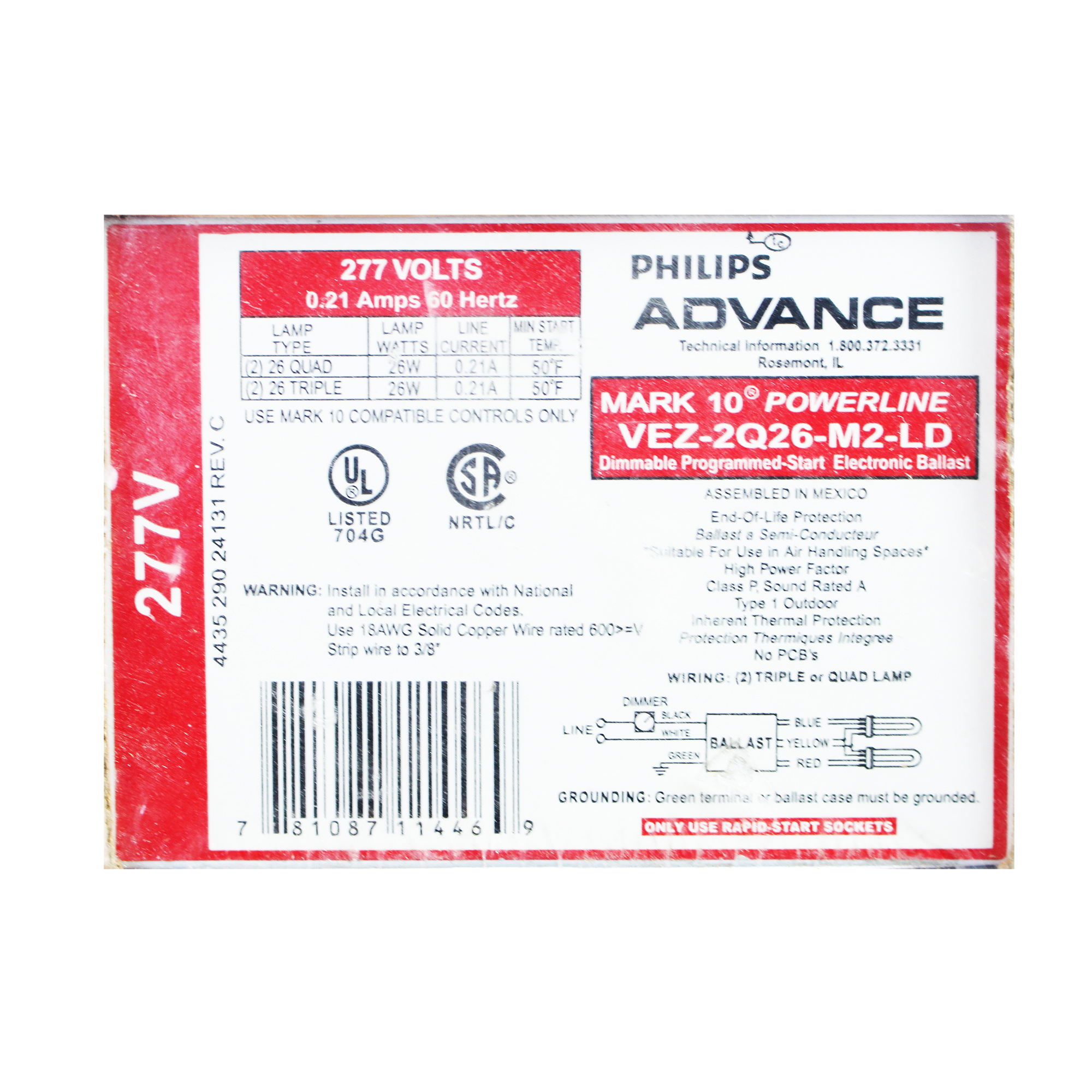 Advance 11447 - VEZ-2Q26-M2-LD Compact Fluorescent Ballast