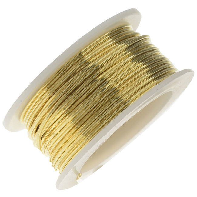 Artistic Wire, Brass Craft Wire 22 Gauge Thick, 8 Yard Spool, Bare Yellow Brass