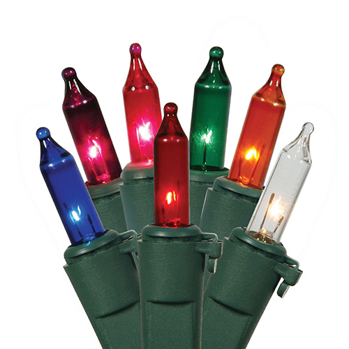 Set of 100 Multi-Color Mini Christmas Lights - Green Wire