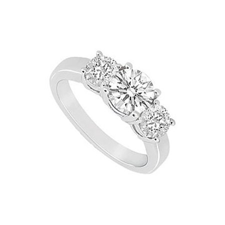 Three Stone Cubic Zirconia Ring 14K White Gold 1.25 CT Cubic Zirconia - image 1 de 2