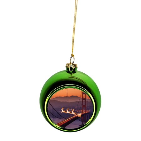 Santa Klaus and Sleigh Riding Over The Golden Gate Bridge Bauble Christmas Ornaments Green Bauble Tree Xmas Balls