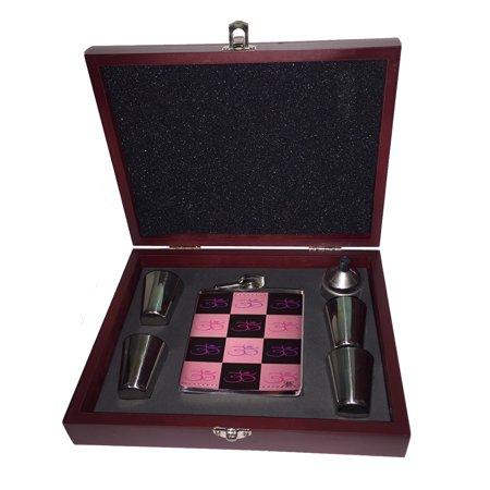 Gift Set Pink Flower (KuzmarK Pink Leather Flask Set in Rose Wood Gift Box - Om Pink Flower Modern Art )