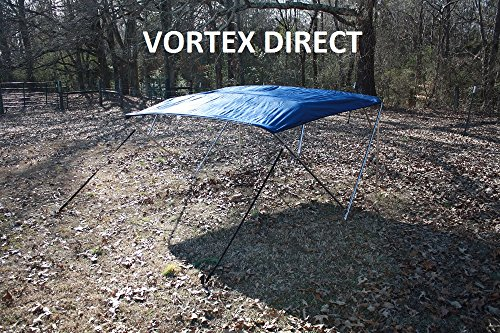 """New NAVY BLUE STAINLESS STEEL FRAME VORTEX 4 BOW PONTOON DECK BOAT BIMINI TOP 12' LONG, 91-96"""" WIDE (FAST SHIPPING... by VORTEX DIRECT"""