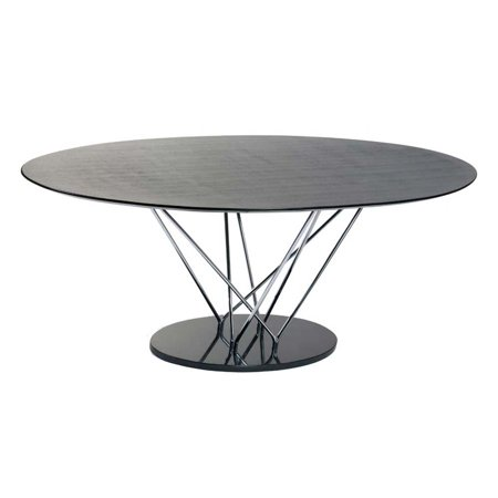 Stacy Pedestal Oval Dining Table W Black Marble Base