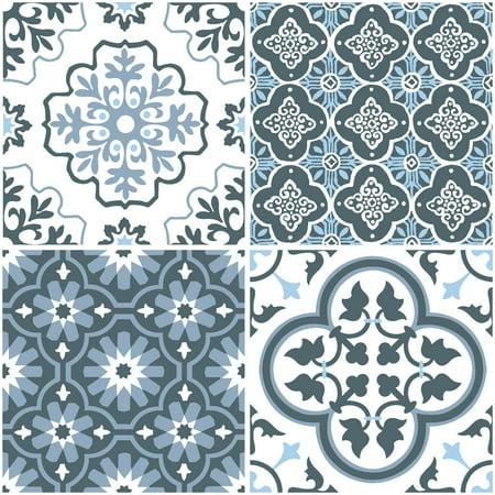 Blue Hard Flooring - FloorPops Myriad Peel & Stick Floor Tiles 10 Tiles/10 sq. ft.