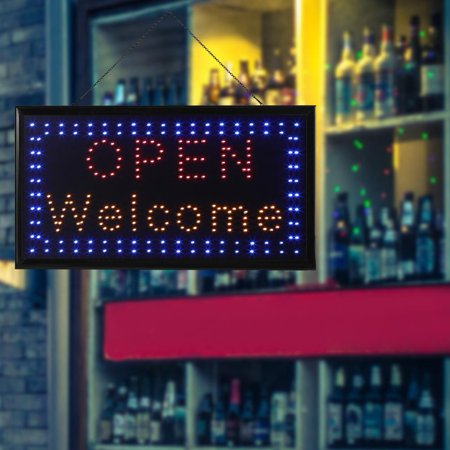 Vbestlife 1pc Large Bright Led Sign Board Neon Light Window Door Hang Open Welcome Bar