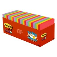 Post-it Super Sticky Notes Cabinet Pack, 3in. x 3in., Marrakesh Color Collection, 24 Pads