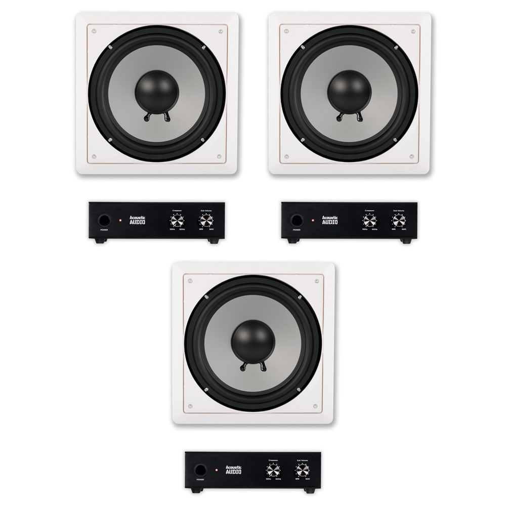 "Acoustic Audio CS-IW10SUB In Wall 10"" Passive Subwoofers and Amps for Home Theater 3 Sub Set by Acoustic Audio by Goldwood"