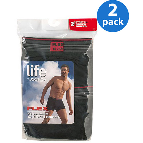 Life by Jockey Men's Boxer Briefs, Black, 2-Pack