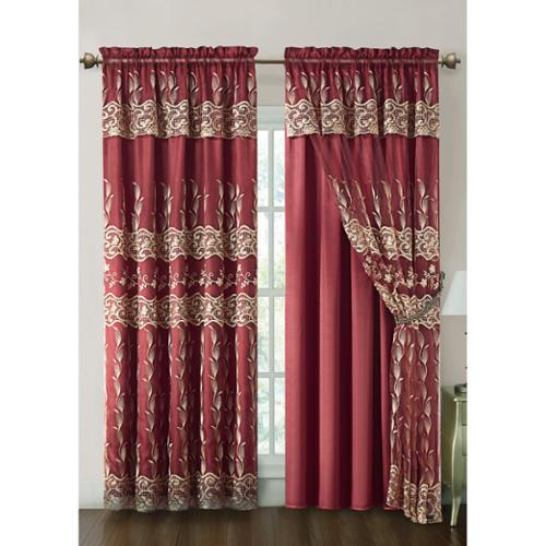 VCNY Darius Curtain Panel with Attached Valance and Satin Backing 55x90-Burgundy